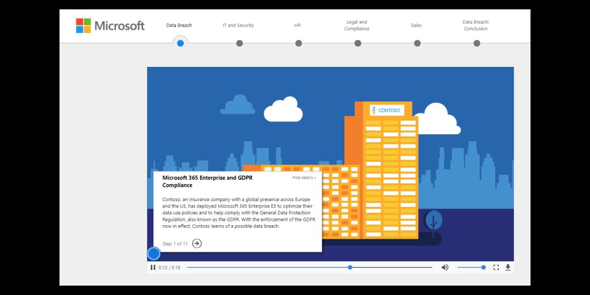Microsoft GDPR Data Breach Interactive Demo